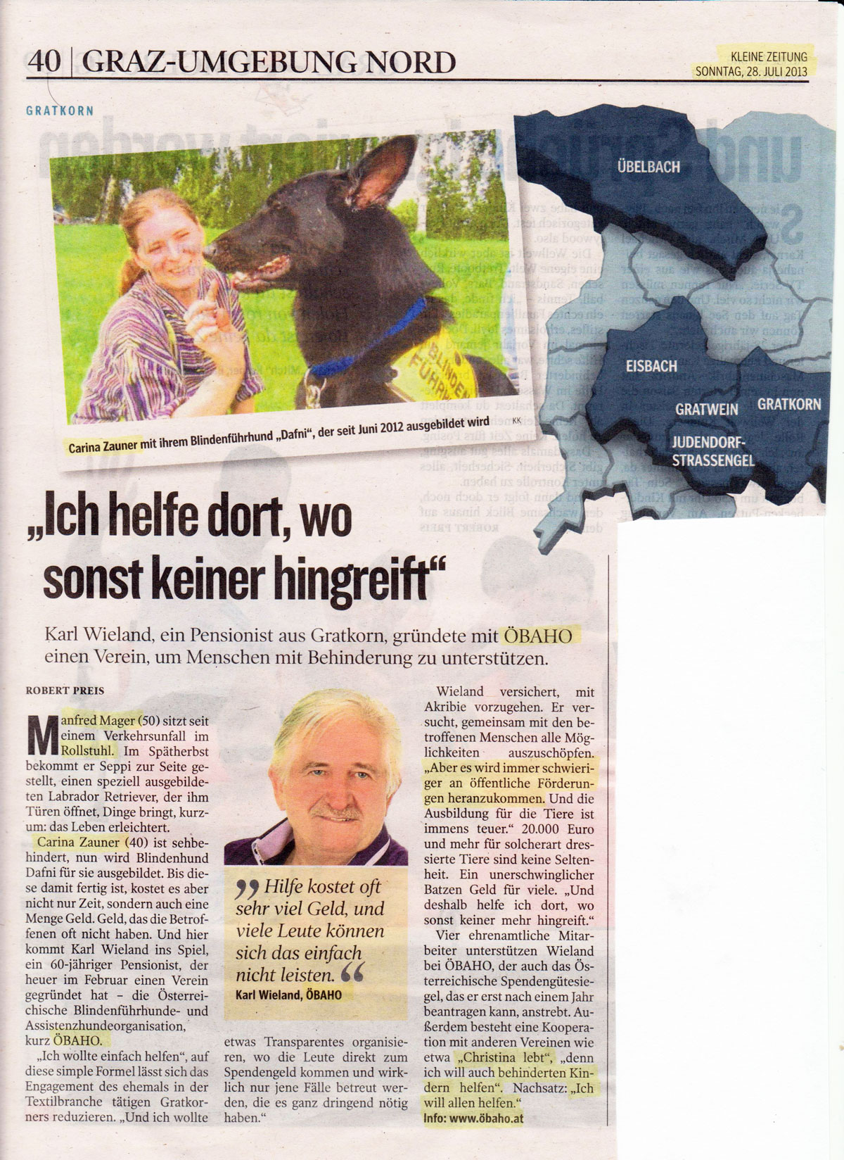 Artikel Bericht in der Kleinen Zeitung